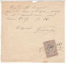 RECU PAIEMENT LE REGISSEUR 1887 TIMBRE FISCAL