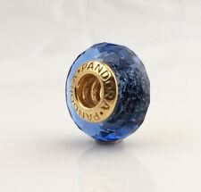 New Pandora White Murano Glass Charm 24K Gold Plated 791070 Authentic