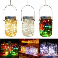 Solar Powered LED Lights Mason Jar Lid Fairy StringGarden Party Decor Lamp UK