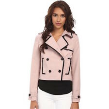 REBECCA MINKOFF $398 PINK DEREK FAUX LEATHER TRIM JACKET COAT  L