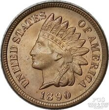 1890 Indian Head Cent 1c with Red Toning US Coin 19900