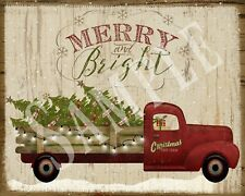 Primitive Country Christmas Red Truck Tree Merry and Bright Laser Print 8x10