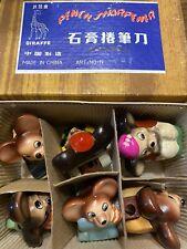 Vintage Lark china Mice Pencil Sharpeners 6 NIB