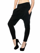 Women Casual Hip Hop Drop Crotch Elastic Waist Soild Color Haroun Harem Pants