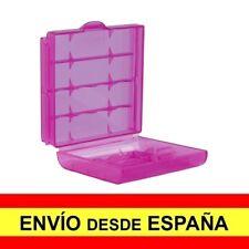 Caja Almacenaje Estuche  Blister Rosa de Plastico para Baterias AA a3419