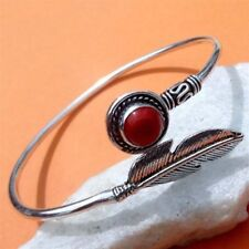 "RED CORAL 925 STERLING SILVER PLATED BANGLE / CUFF / Bracelet 2.75 "" Inch N7"