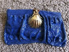 UTERQUE Royal Blue Chain Mail Clutch Bag Shell Buckles