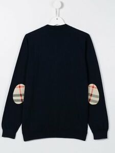 NEW Burberry Boys Cotton Check Elbow Patch Navy Cardigan Sweater, Size 4Y/104cm