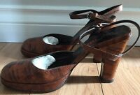 AUTH Miu Miu Brown Python Mary Jane Ankle Strap High Heel Shoes Size 6.5 36.5