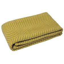 100% Cotton Yellow / Grey Throw Two Toned 150cm x 200cm