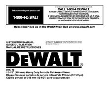"Dewalt 12 1/2"" Planer Instruction Manual Model #DW733"