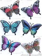 Set 6 17cm bright coloured metal Butterflies decoration wall art butterfly lover