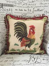 Wool Rooster Throw Pillow French Country Tapestry Outdoor Scene Tassels Velvet