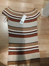 refb83)bnwt top size 10 stripe browns gold sparkly thread sleeveless f&f rrp £14