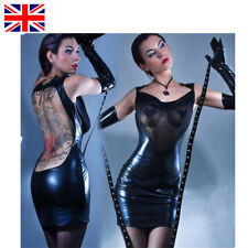 Faux Leather Shiny Vinyl  Mesh Dress Fetish Lingerie Bodycon Clubwear