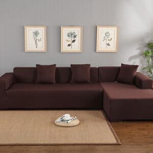 Housse de canapé d'angle en polyester 3 + 2 places en forme de L (café)