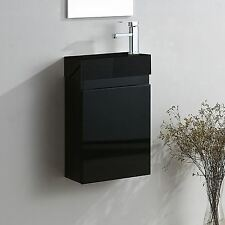 FELIX WALL HUNG BLACK GLOSS VANITY UNIT BLACK DIAMOND BATHROOM BASIN SINK 400MM