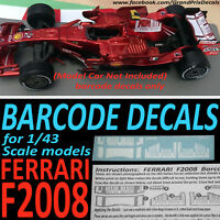 Ferrari F2008 BARCODE water slide DECALS for 1/43 scale IXO