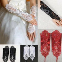 Bride Wedding Party Dress Fingerless Pearl Lace Satin Bridal Gloves Stunning