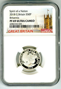 2018 50P GREAT BRITAIN SILVER PROOF BRITANNIA NGC PF69 RARE MINTAGE ONLY 1350 !!