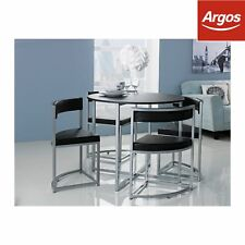 Hygena Milan Space Saver Table and 4 Chairs - Black