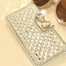 Luxury Bling Diamond Bowknot Crystal Flip Wallet Case Cover For iPhone / Samsung