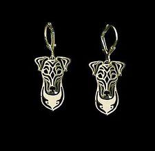 Fox Terrier Dog Earrings-Fashion Jewellery Gold Plated, Leverback Hook