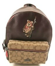 New Authentic Coach F88014 Handbag Purse Backpack Signature Canvas With Ewok Red