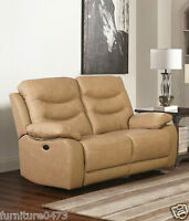 Beige Leather Manual 3 Seat or 2 Seater Armchair Recliner Sofa Suite FUSION 32
