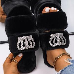 Faux Fur Slippers Slides Custom Jewelry Rhinestone Silver Crown House Slippers