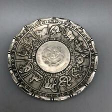 Old Chinese tibet silver Zodiac Animal statue  money Coin wealth Plate