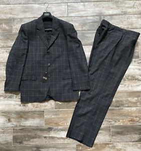 NWT Versace Classic Black Windowpane 2 Piece Suit Italy 56 US 46  100% Wool NEW