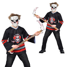 Teens Bloody Face Off Fancy Dress Costume Childs Jason Hockey Freddy Boys Outfit
