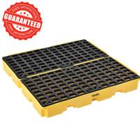 4 Drum Modular Yellow Spill Containment Pallet Platform Heavy-Duty Polyethylene