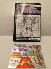 Transformers G1 Blitzwing Instruction Booklet Stickers Decal Sheet Vintage #B73