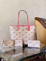 NWT Coach Signature Strawberry Print Reversible  handbag/wallet/pouch/wristlet