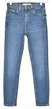 Topshop PETITE Skinny CAIN High Waisted Stonewash BLUE Crop Jeans Size 8 W26 L28