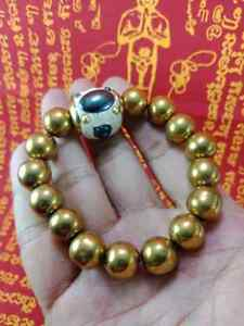 RARE LEKLAI GOLD BRACELET AND TAKRUT HEALING LP SOMPRON PROTECT THAI AMULET 0099