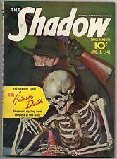 THE SHADOW AUG. 1, 1941 CRIMSON DEATH - GRAVES GLADNEY SKELETON COVER HIGH GRADE