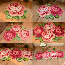 Country Roses Hand embroidered Pink Non-skid Door Rug Floor Mat Porch Runner