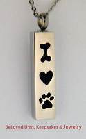I Love My Pet Paw Print Bar Cremation Jewelry Pendant Urn With Chain - Dog, Cat