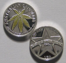 1/10th Troy Oz Pure .999 solid Silver Australian Gold Leaf Cannabis Coin w/free