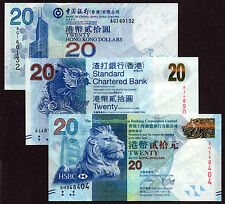 Hong Kong - 20 dollars - All 3 banks - set of 3 UNC currency notes
