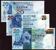 Hong Kong - 20 dollars - All 3 banks - set of 3 UNC currency notes