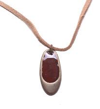 2db043257068 Chic Bronce Y Esmalte Roja sangre Oval Colgante Collar De Gamuza Marrón  (Zx177)