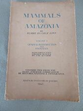 Mammals of Amazonia Amazon Eladio Da Cruz Lima 1945 w/color Plates Only 975 Prin