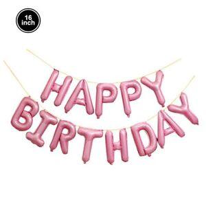 16'' HAPPY BIRTHDAY Banner Balloon Self Inflating Bunting Birthday Party Decor