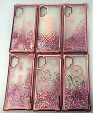 Galaxy Note 10 Plus 5G Rosegold Liquid Glitter Case Shockproof Bumper Quicksand