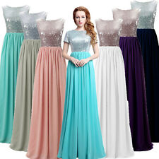 Formal Long Sequin Bridesmaid Wedding Prom Dresses Plus Size  Evening Party Gown