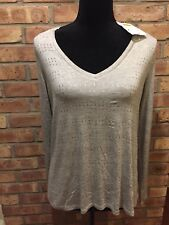 NWT Belle Du Jour Long Sleeve Top Gray with Copper Metallic Size XL Retail $39